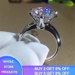 white gold stamps rings NZ - ewelry & Accessories YANHUI With Certificate 18KRGP Stamp Pure Solid White Gold Ring Round Solitaire 8mm 2.0ct Stone Wedding Rings For Wo...