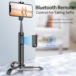 Großhandel Drahtlose Bluetooth Erweiterbar Selfie Stick Leichte Multifunktions Video Live Halterung Stativ Aluminium Selbstauslöser für Samsung IPhone usw.