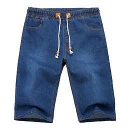 44 Waist Shorts UK - Plus Size 44 46 48 2019 Summer New Men Denim Shorts Fashion Cotton Elasticity Black Blue Jeans Casual Men's Clothing