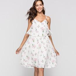 $enCountryForm.capitalKeyWord Australia - Fashion summer cherry printed flowers beach dress female Chiffon knee-length sling beach cover up for womens sexy beachwear 2019
