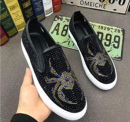 ShoeS for driving online shopping - New Men s luxury rhinestone slip on Casual flats men Dress shoes moccasins driving shoes party wedding shoes for men zapatos hombre