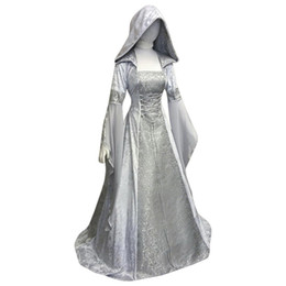cosplay costumes corsets Australia - Medieval Costume Women Renaissance Hight Waist Corset Retro Gothic Hooded Dress GOT Cosplay Dress Long Sleeve Robe