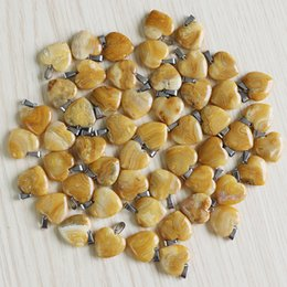 Wholesale crazy love resale online - charms Fashion natural Crazy agate stone Love heart bead Pendants for DIY Jewelry making mm