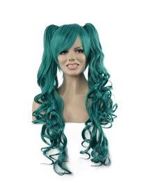 China Women Long Light Blue Double Ponytails Oblique Bangs Curly Hair Kanekalon Heat Resistant Cosplay Party Hair Full Wig Wigs suppliers