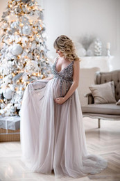 out shower Australia - 2019 Maternity Evening Dresses Baby Shower Gowns with Tulle Skirt A-line Prom Dress Sleeveless V-neck Tulle Sequin Party Gowns
