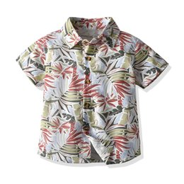 hawaii t shirt NZ - Kid Boys floral Short Sleeve Shirt Summer Baby Boys Top Hawaii T-shirt Toddler Clothing Preppy Kids Clothes 1-7Y M200412
