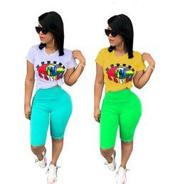 $enCountryForm.capitalKeyWord Australia - Women Big Eye Print Tracksuit T-Shirt + Shorts Pants 2pcs Set Summer Sport Suit Ladies 2 Pieces Outfits Sportswear Yoga Clothes S-3XL A32802