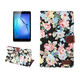 m3 cards Canada - For Huawei MediaPad M3 Lite 8.0 Flower Pattern Cloth Surface Horizontal Flip Leather Protective Case with Holder & Card Slots & Wallet & Ph