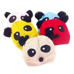 Baby Boy Skull Crochet Beanies Australia - Fashion Winter Knitted Animal Panda Baby Hat Girls Boys Wool Panda Cap Children Beanie Hat Toddlers Knit Crochet Warm Hats