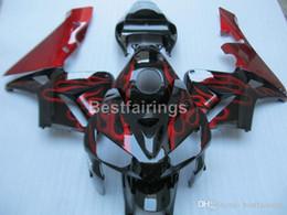 Injection Abs Fairings Australia - Injection ABS fairing kit for Honda CBR600RR 05 06 red flames black fairings set CBR600RR 2005 2006 FF02