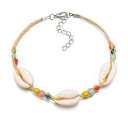Rice shells online shopping - Bohemian Nationality Wind Mixed color Rice Bead Bracelet Female Natural Shell Footchain Y78