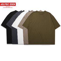 oversized tee women UK - Aelfric Eden Wholesale Casual Oversized T Shirt Men Women Streetwear Skateboard Top Tees Mens Tshirt Simple Cotton Bts T-shirt J190612