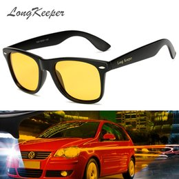night drive sunglasses NZ - LongKeeper Night Vision Goggles Sunglasses Men Women Drivers Driving Vision Sun Glasses Yellow Lens With Brand LOGO Glasses