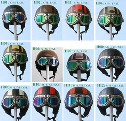 vespa scooter helmets NZ - HOT SALE New TOP Quality Black Leather Half Face Motorcycle Scooter Vespa Biker Helmet with Goggles Visor S M L XL