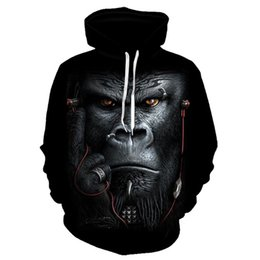 animal monkey hoodies NZ - Monkey Hoodies Men Printed 3d Hoodies Sweatshirts Quality Winter thick Tracksuits Animal Orangutan Print men sweatshirts