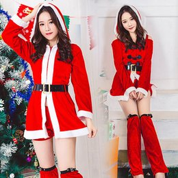 Wholesale hot santa costumes women for sale - Group buy Hot selling new Christmas Dress Separate European and American Women Santa Claus role playing Costume JQ