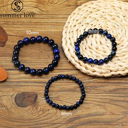 blue tigers eye bracelet NZ - 2019 New 6mm -10mm Blue Tiger Eye Natural Stone Beads Bracelet for Women Men Handmade Adjustable Size Braided Bracelet Fashion Jewelry Gift