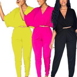 Wholesale one piece outfit pants resale online – INS Women Jumpsuit Half Batwing Sleeve V neck Rompers High Waist Pants Jumpsuits Solid Color One piece Bodysuit Design Romper Outfits XL