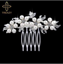 $enCountryForm.capitalKeyWord NZ - Fashion Silver Pearl Crystal Wedding Hair Accessories Jewelry Charm Floral Bridal Hairs Combs Women Party Hairpins