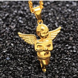 Wholesale hip hop jewerly New Men s D Wings Baby Angel Necklace Golden S Steel Women s Pray Angel Boy Pendant Gift For mans peandant