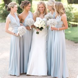$enCountryForm.capitalKeyWord Australia - New Light Blue Covertible Bridesmaid Dresses Pleated Floor Length Country Beach Wedding Guest Party Gowns Cheap Long Prom Dress Y19072901