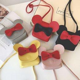 Venta al por mayor de Barato Mujeres Mini Mickey Bolso PU Organizador de cuero Pequeño Lindo Cubo Bolsa Bolsas de Mensajero Mujeres Bolsas Feminina Bolsos 5 colores