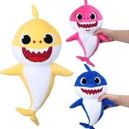 $enCountryForm.capitalKeyWord Australia - Baby Shark Plush Toys Shark Doll Cartoon Stuffed Animals Soft Dolls Shark Plush Christmas Gift 3colors Novelty Items GGA1664