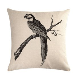 pillows blue chinese print 2019 - Chinese Style Retro Pillowcase Home Sofa Decorative Linen Square Black White Bird Printing Sofa Pillow Case 45*45cm chea
