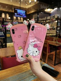 $enCountryForm.capitalKeyWord NZ - Happy Shell Cute Cartoon KT Cat Back Cases For iPhone XS Max XS XR X 8 7 6 6S Plus Cover Case Silica gel for couples gift