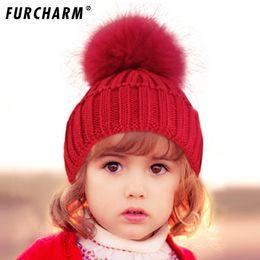 $enCountryForm.capitalKeyWord Australia - Children Winter Raccoon Fox Fur Hat Girls Boys 100% Real Fur pompoms Ball Baby Beanies Cap Crochet Kids Knitted Hats Thick Cap
