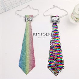 Xmas ties online shopping - Child Sequins Glitter ties Shining Sequin School Boys Girls Necktie Wedding Xmas Party Holiday Tie reversible sequins Necktie KKA6392