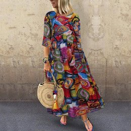 Wholesale casual sundresses for plus size women resale online – Boho Print Dress Women Casual Sleeve Long Maxi Loose Party Robes Dress Sundress Sukienka Letnia Plus Size Dresses For Women