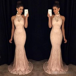 full lace pink dresses Australia - Elegant Pink Full Lace Evening Dresses Mermaid Sweep Train High Halter Neck Custom Made Plus Size Prom Party Gown Forma Occasion Wear