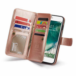 $enCountryForm.capitalKeyWord NZ - stripe Wallet Flip PU Leather Case for iphone 6s 7 8 plus Removable high-capacity Card Slots Multi-functional Cover for iphone XS Max XR X