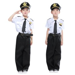$enCountryForm.capitalKeyWord Australia - Halloween Cosplay Boys Kid Clothes Pilot Captain Uniform Matching Hat Belt Toys 4T-9T Carnival Role Play Prom Gown Costume