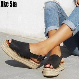$enCountryForm.capitalKeyWord Australia - Feminino Women's Fashion Casual Peep Toe Hemp Rope Thick Sole Wedge Platform Back Buckles Lady Sandals Mujer Saptaos Shoes A570 Y19070503