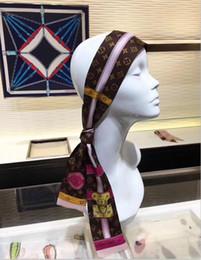 Headbands Bow Australia - Top brand designer super soft 8*120cm Top level flower silk ribbon fashion classic headband bow tie handbag strap