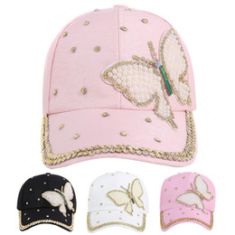 Discount bling hip hop caps - Fashional Women Baseball Cap Bling Butterfly Pearl Hip Hop Cap Vintage Adjustable Casual Cotton Hat Summer Snapback Hat