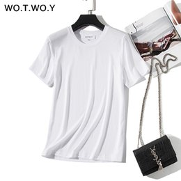 $enCountryForm.capitalKeyWord NZ - WOTWOY 2019 New High Quality Basic Loose T-shirts Women Summer Cotton O-Neck Short Sleeve T Shirt Woman 12 Colors Plus Size Tops
