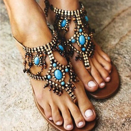 $enCountryForm.capitalKeyWord Canada - Flats Sandals Women Gladiator Summer String Bead Roman Shoes Ladies Bohemian Casual Beach Flip Flops Big Size Zapatos Mujer