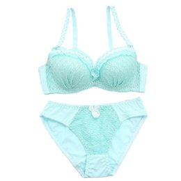 sexy push up bra panty UK - Japanese Cute Women's Bra Set 3 4 Adjusted Push Up Underwear Set Small Chest Girl's sexy floral Lingerie bra and panty set