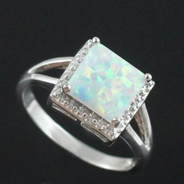 pink blue rings Australia - Wholesale Retail Silver Plated Four Claw Inlay White Pink Blue Fire Opal Rings Size 6 7 8 9