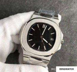 Venta al por mayor de 2019 Nuevos Relojes para hombres de lujo Nautilus moon Mecánico Automático de Acero Inoxidable Transparente Volver Negro Dial Relojes Hombres Reloj de pulsera Masculino