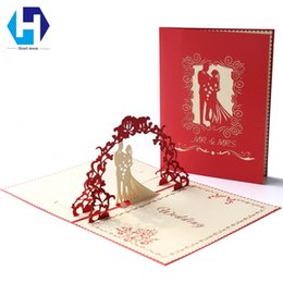 vintage laser cut wedding invitations Australia - Wedding Invitations Blank Cards Elegante Cheap Vintage 3D Pop Up Paper Laser Cut Cutomizable Pintable with Envelope
