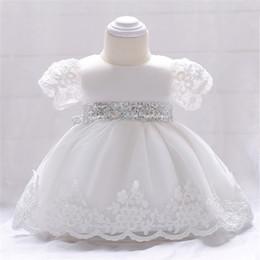 $enCountryForm.capitalKeyWord Australia - Baby girls party dress kids white lace embroidered short sleeve tutu dresses baby sequins bows princess dress girls birthday dresses