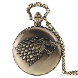 $enCountryForm.capitalKeyWord Australia - Bronze Vintage Game of Thrones Stark House Direwolf Theme Quartz Fob Pocket Watch with Necklace Chain Pendant Xmas Gift for Men Women