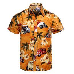 China Car Work Print Beach Shirts Men Yellow Loose 4XL Casual Beaside Surf Hawaiian Shirts man Summer 2019 Short Sleeve chemise homme supplier man surf shirt suppliers