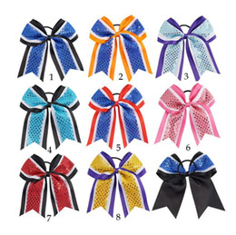 make ribbon hair accessory Australia - Large Size Cheer Bow Boutique Hair Bow With Hair Ring For Cheerleader Girl Glitter Design Bow-knot Hand Made Hair Accessory Clip