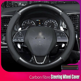 mitsubishi steering wheels Canada - Universal 15 inch Carbon Fiber Leather Car Steering Wheel Cover For Mitsubishi