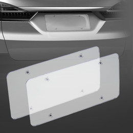 car bumper protector stainless steel UK - 2pc License Plate Frames Flat Cover Shield for US Canada Car License Plate Tag Bumpers License Plate Tap Holder Accessorie Protector Cover